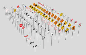 3ds max road traffic signs