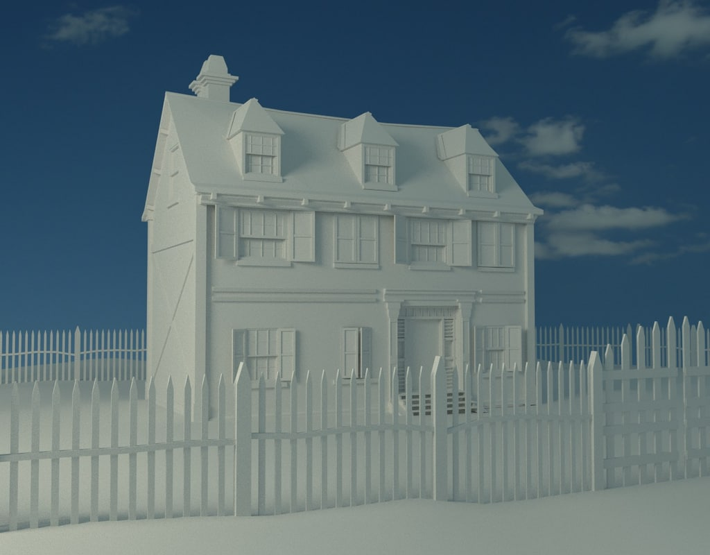 3d old american house model