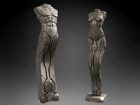 3d model sculptures man woman