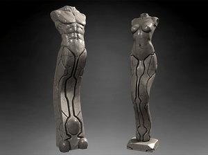 3d model sculptures man woman
