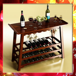 wine table 2 bottles 3d max