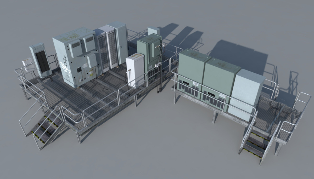 rooftop electrical boxes 3d model