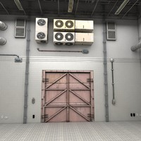 Clean Big White Industrial Manufacturing Factory Room Scene Hall