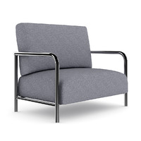 3d grey fabric armchair model