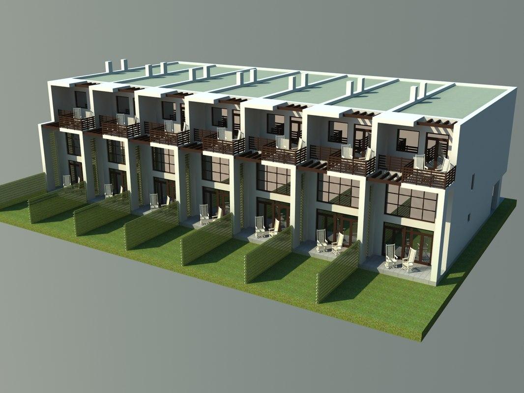 modern townhouse 3d 3ds