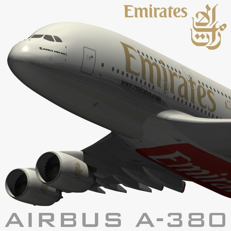 3d airbus emirates airways model