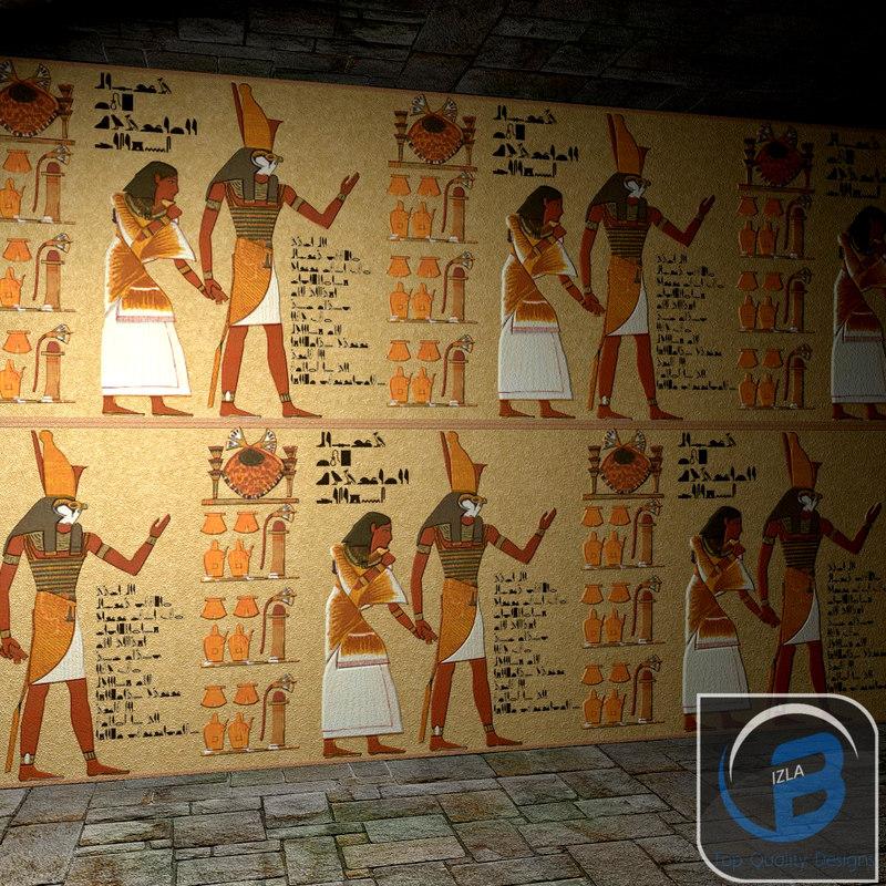 egyptian egypt wall obj