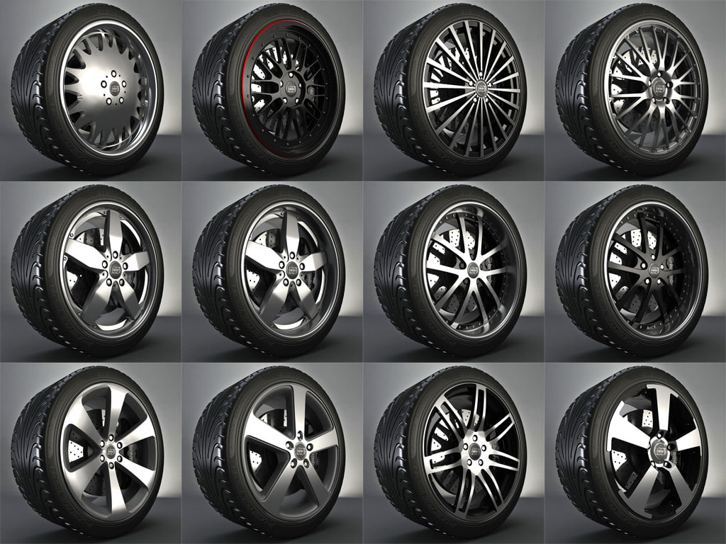 complete wheel pack rims 3d max