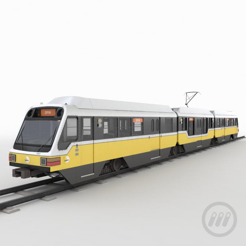 3d light rail train model