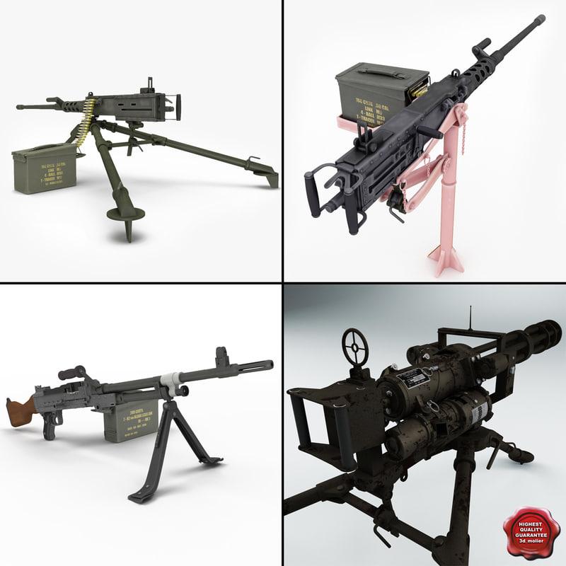 machine guns 9 3d model
