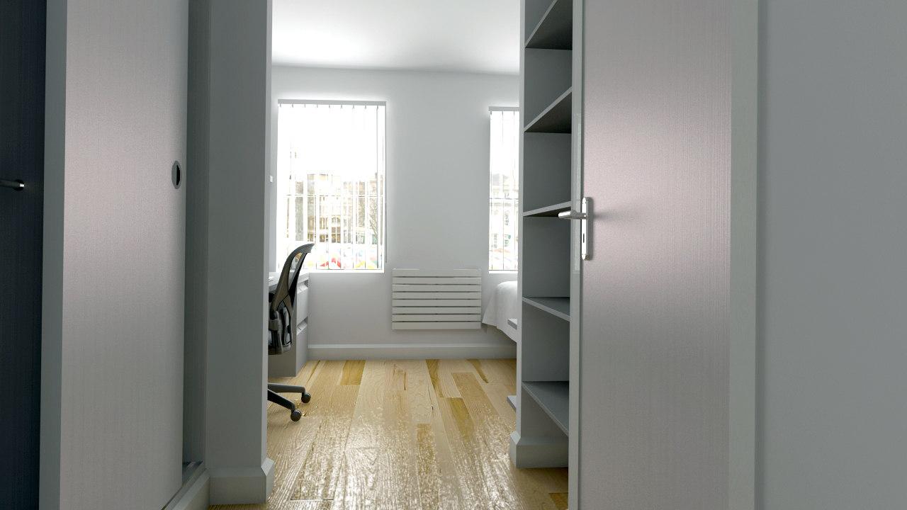 3d scene student bedroom