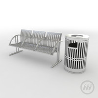 3d model park bench trash