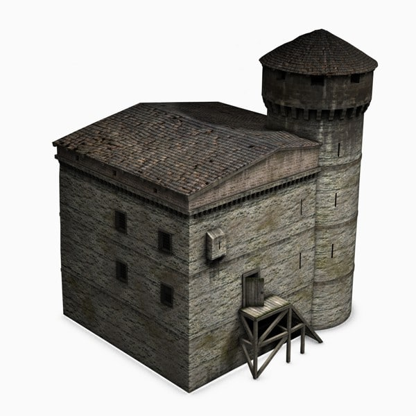 3ds max medieval tower house