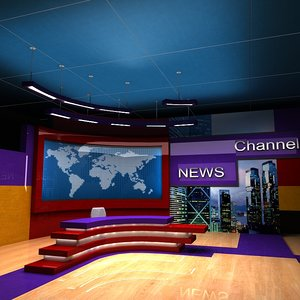 3ds tv news studio stages