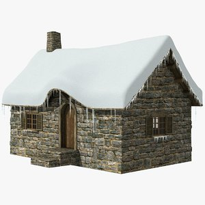 3d model old cottage 1 snow ice