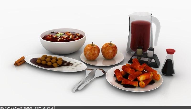 3d model of dining set fork spoon