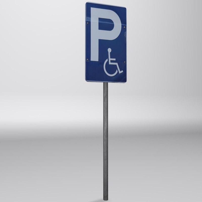 parking sign 2 3d max