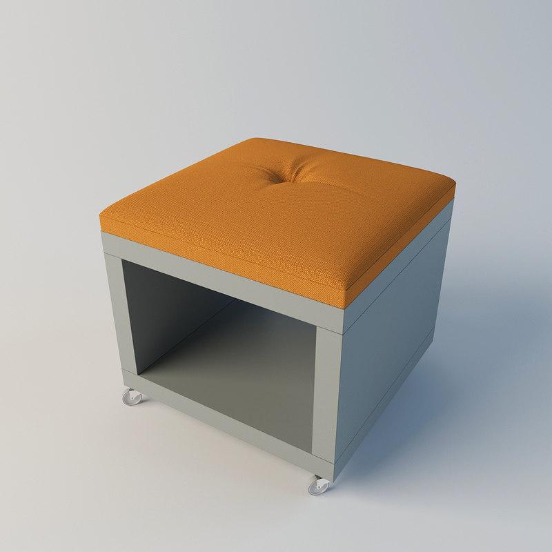 3d model pouf shelf wheels