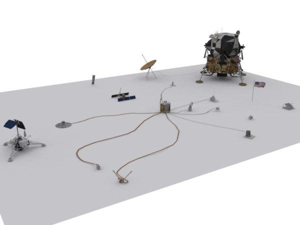 nasa alsep apollo lunar 3d model