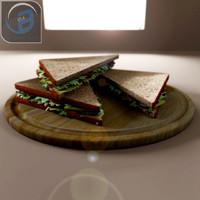 lettuce sandwich 3d obj