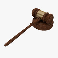 free court judge hammer 3d model