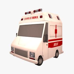 toon ambulance 3d model