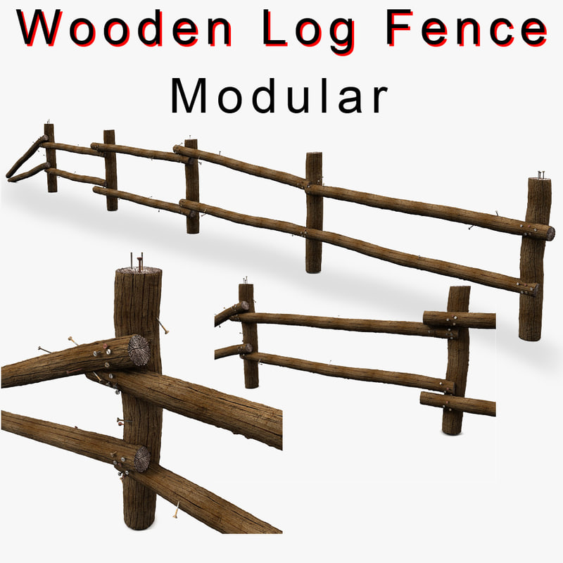 Marvelous photograph of Wooden Log Fence low prop detail with #BB1010 color and 1024x1024 pixels