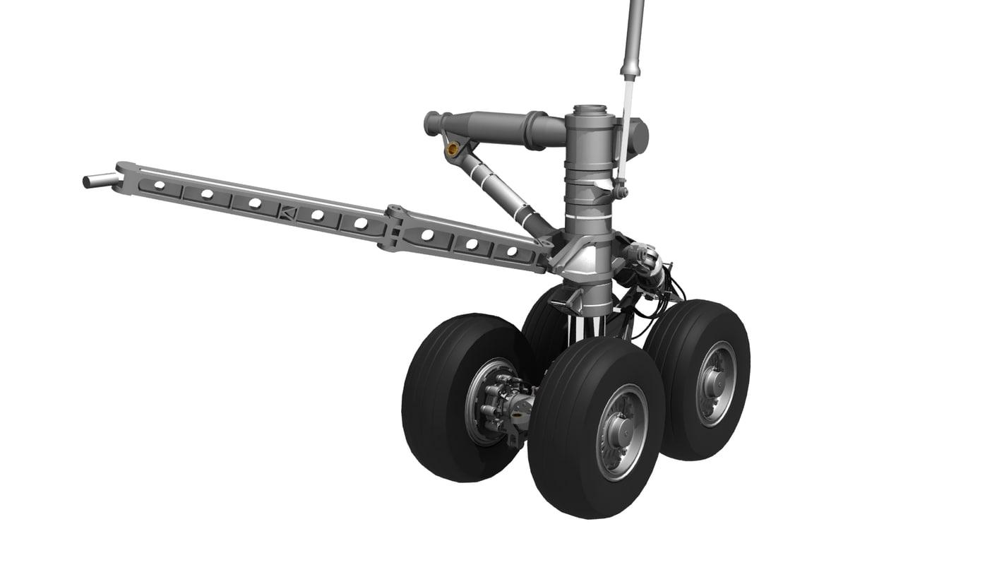 3d 747-400 body landing gear model