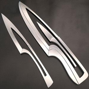 3d meeting knife set model