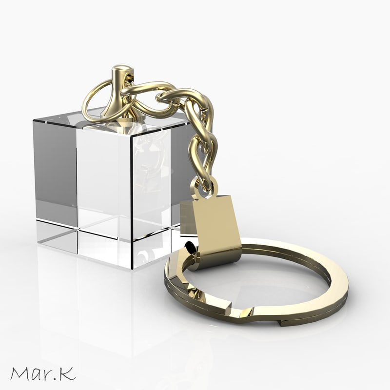 glass keyring-pendant 3d 3ds