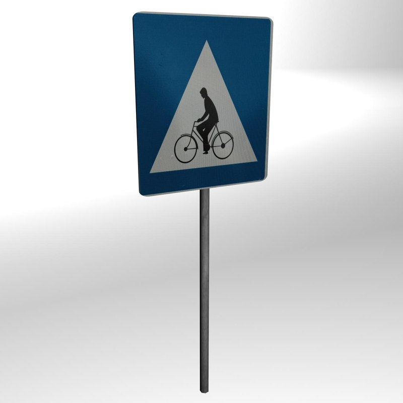3d model bicycle path sign