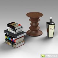 3d model of wooden stool books bottle