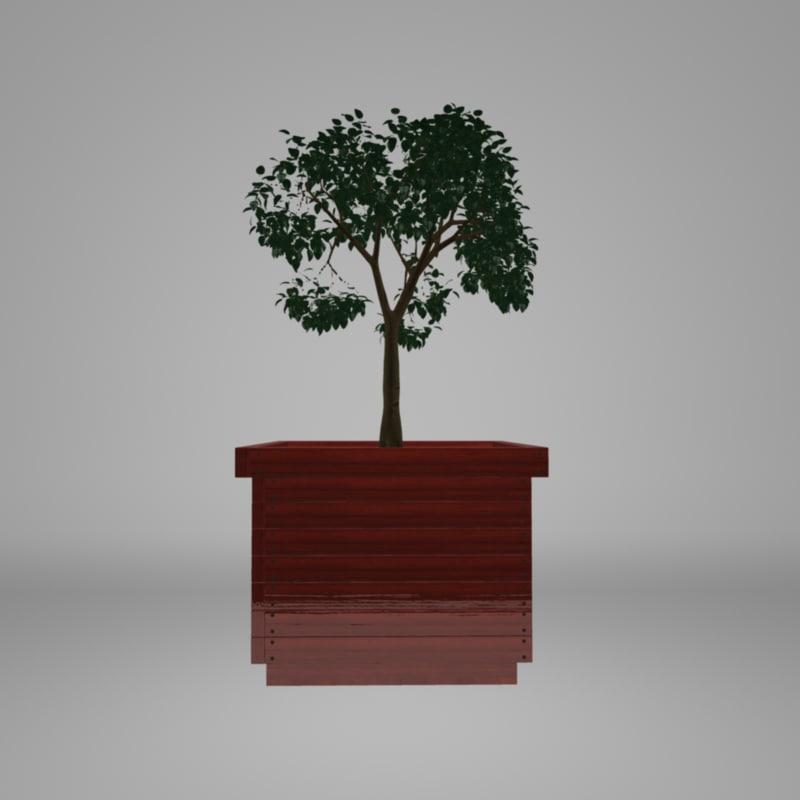 wooden planter 3d model