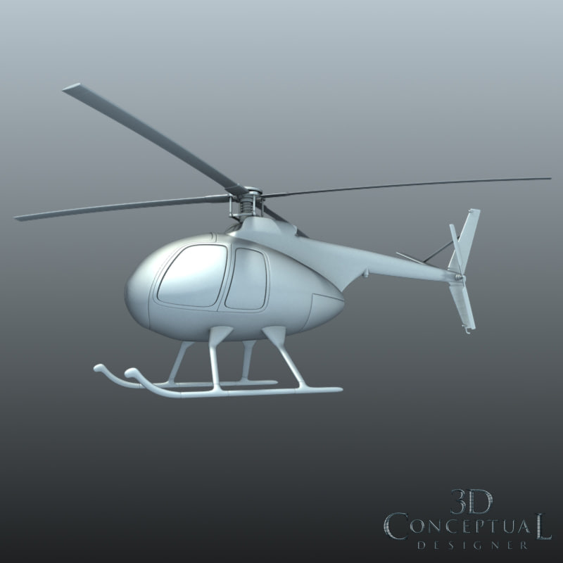 small helicopter 3d fbx
