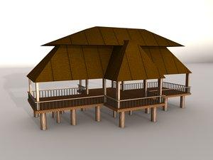 c4d large beach hut
