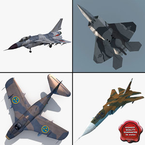 3d jet fighters rigged 3 model