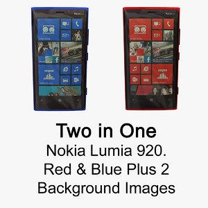 nokia lumia 920 red blue 3d model