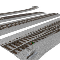 Train Track Sections: Interchangeable Pieces: C4D Format