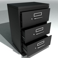 3d model set wide filing cabinets