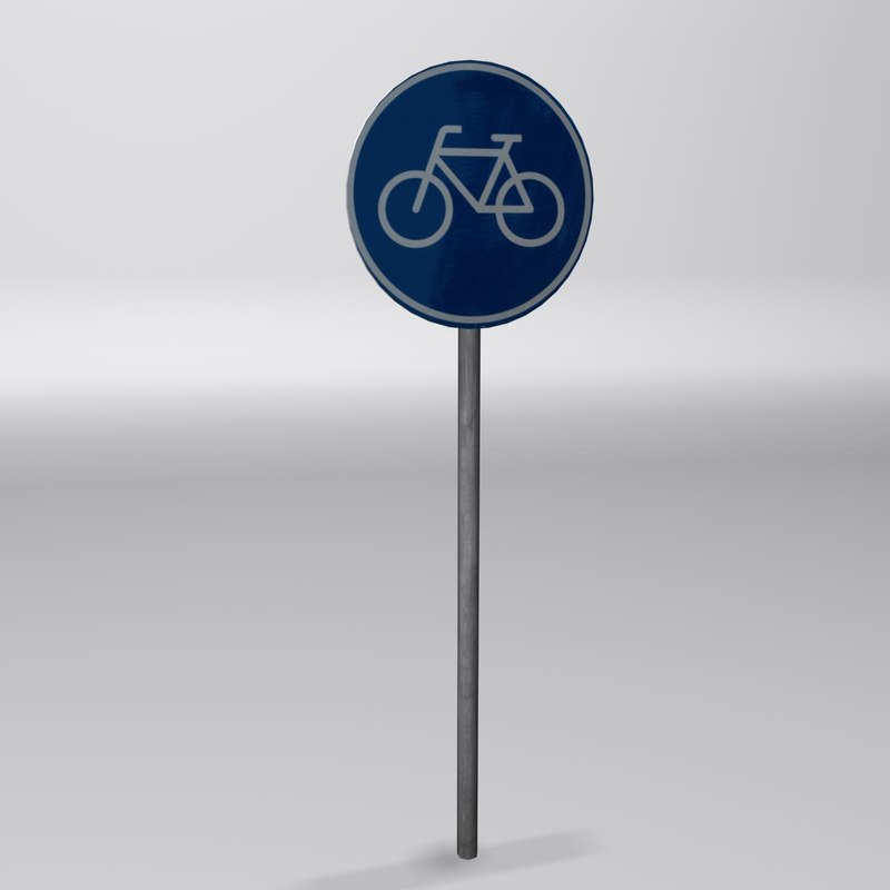 3ds max bicycle path sign 2
