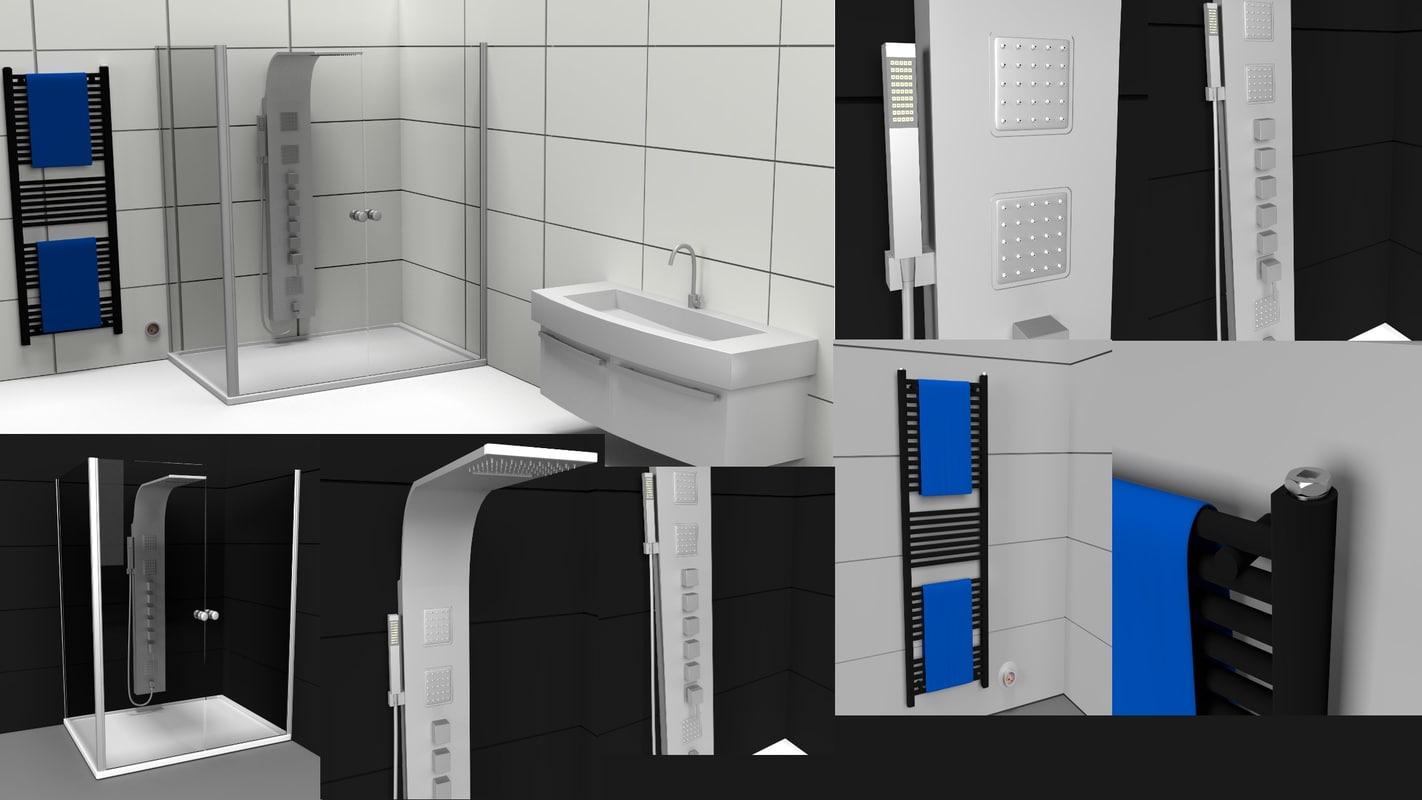 shower bath water 3d model