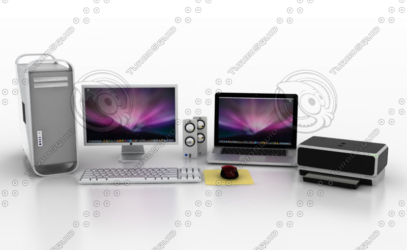 3d model computer printer laptop