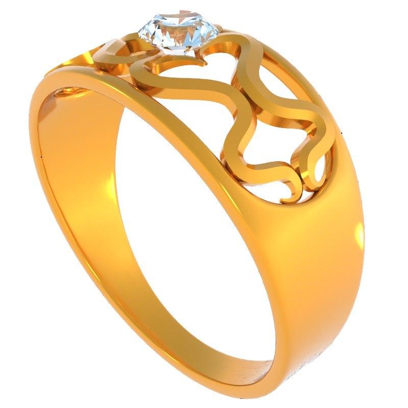 gold diamond ring 3d dxf