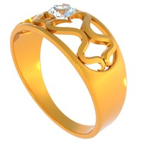 gold diamond ring 3d dxf