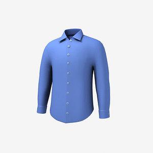 3d shirt men blue model
