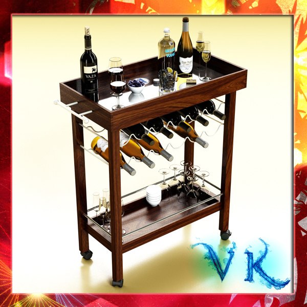 wine table bottles cups 3d max