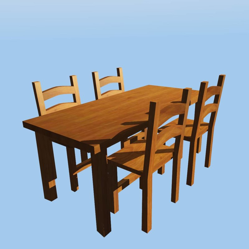 basic table chairs 3d model