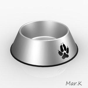 3d bowl dog