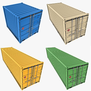 3d model cargo containers pack