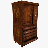 Luxurious Wooden Castle Ornate Antique Cupboard